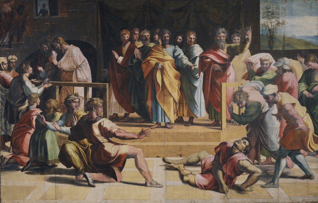Raphael Cartoon, The Death of Ananias. Photo (c) V&A. Courtesy Royal Collection Trust Her Majesty Queen Elizabeth II 2021
