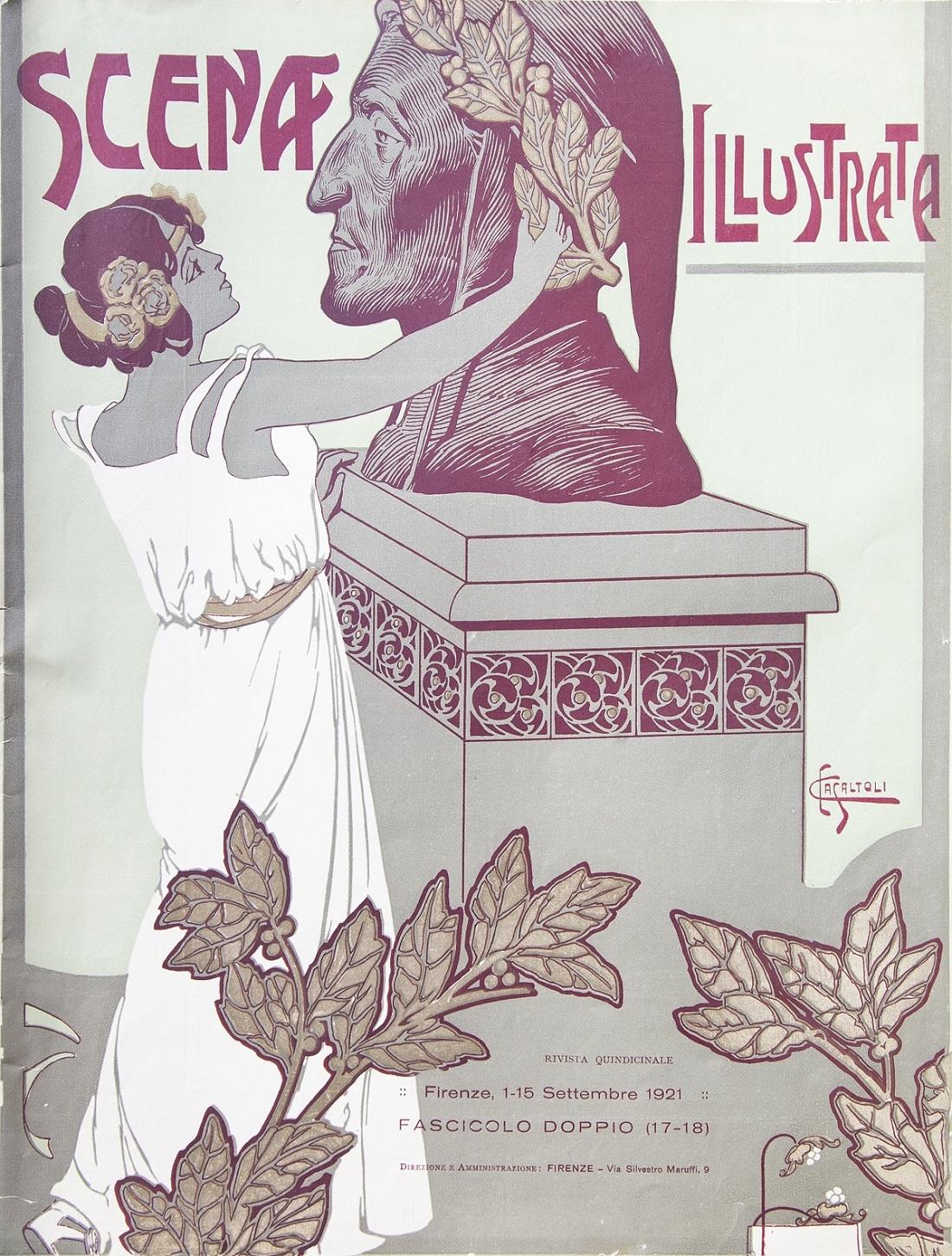 06)Scena Illustrata, fascicolo doppio, Firenze, 1-15 settembre 1921, Copertina di Carlo Casaltoli