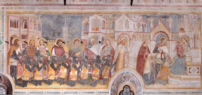 Altichiero da Zevio, La presentazione della famiglia Lupi di Soragna alla Vergine, Oratorio di San Giorgio, 1379-1384