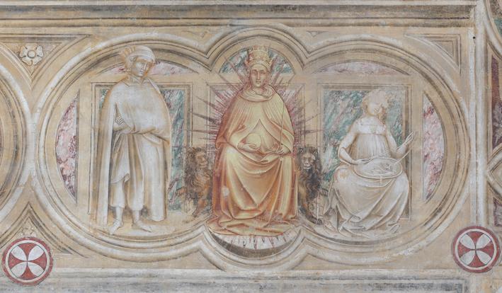 Guariento di Arpo, I pianeti e le sette età dell'uomo (part.), Chiesa degli Eremitani, Cappella Maggiore, 1361-1365