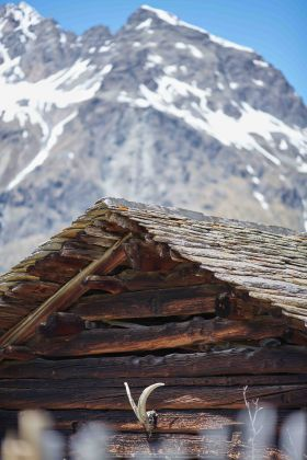 Mountain Hut in Val Fex, Engadin Site of Pawel Althamer's project for the Beatrice Trussardi Foundation 2021 Courtesy Beatrice Trussardi Foundation Photo by Marco De Scalzi
