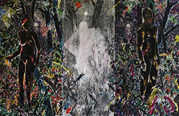 Abed Al Kadiri, Nyctophilia, 2020. Olio e carboncino su tela, 180×280 cm. Courtesy Studio la Città – Verona