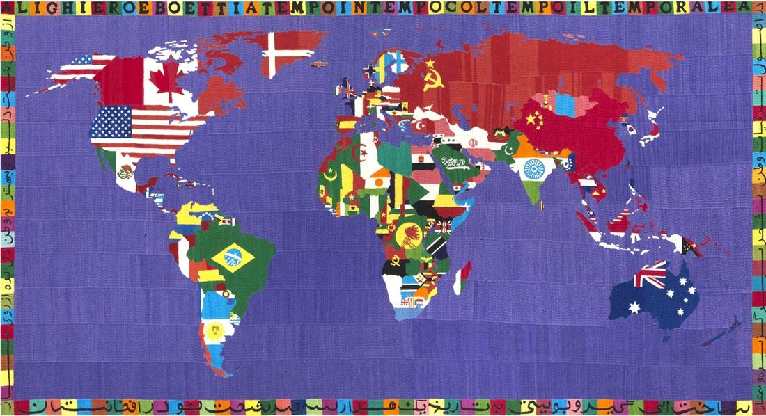 Alighiero Boetti Mappa, 1990, ricamo su tessuto cm 118x220