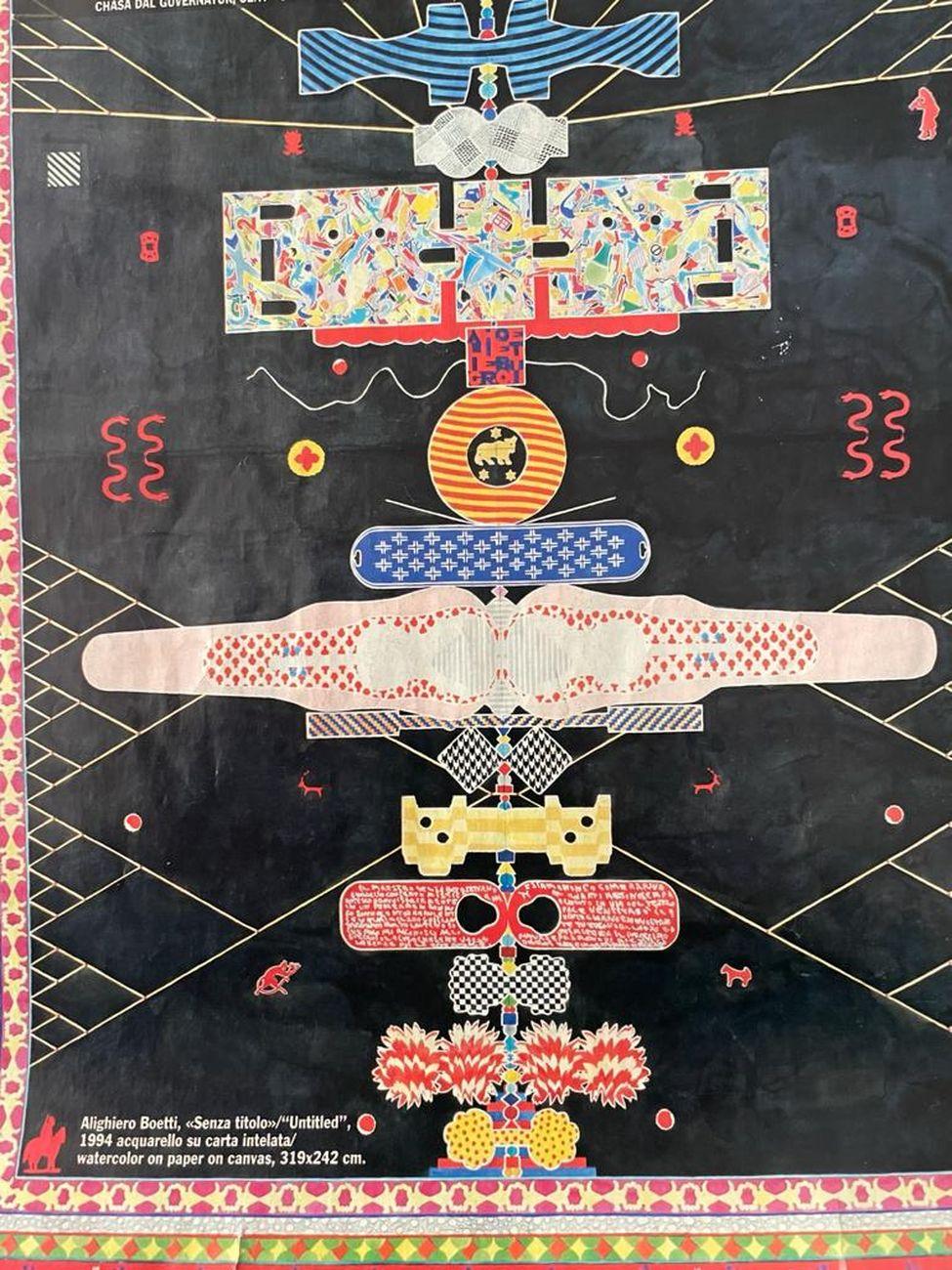 Alighiero Boetti, Senza titolo, 1994, acquarello su carta intelata, 319x242 cm. Courtesy Felice d'Alfonso del Sordo