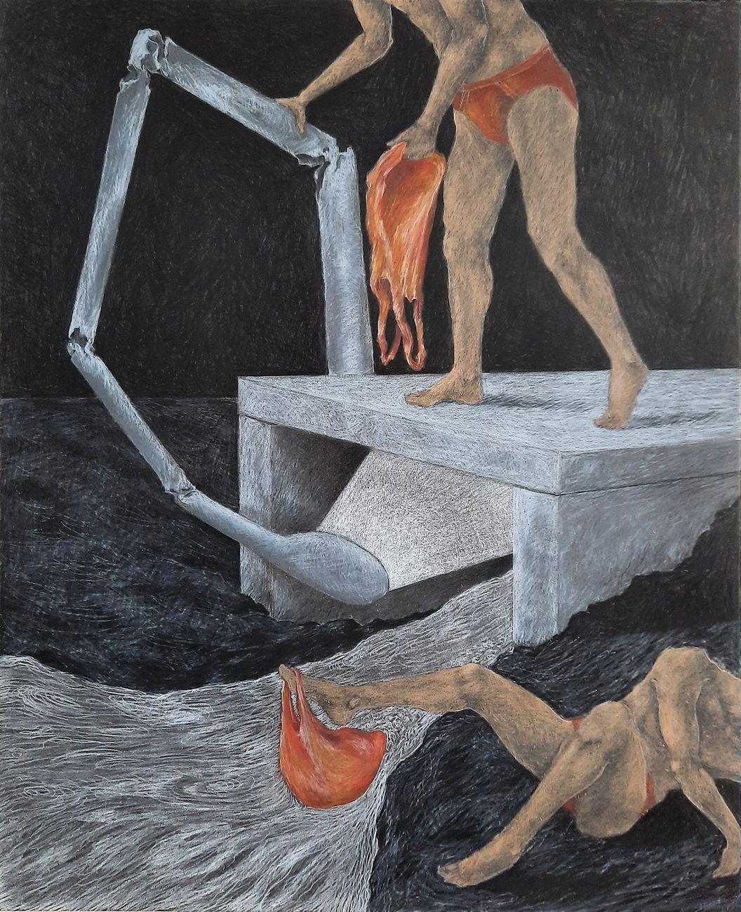 Andrea Respino, L'orinatoio lunare II, 2021, pastello su tavola, 50 x 40 cm