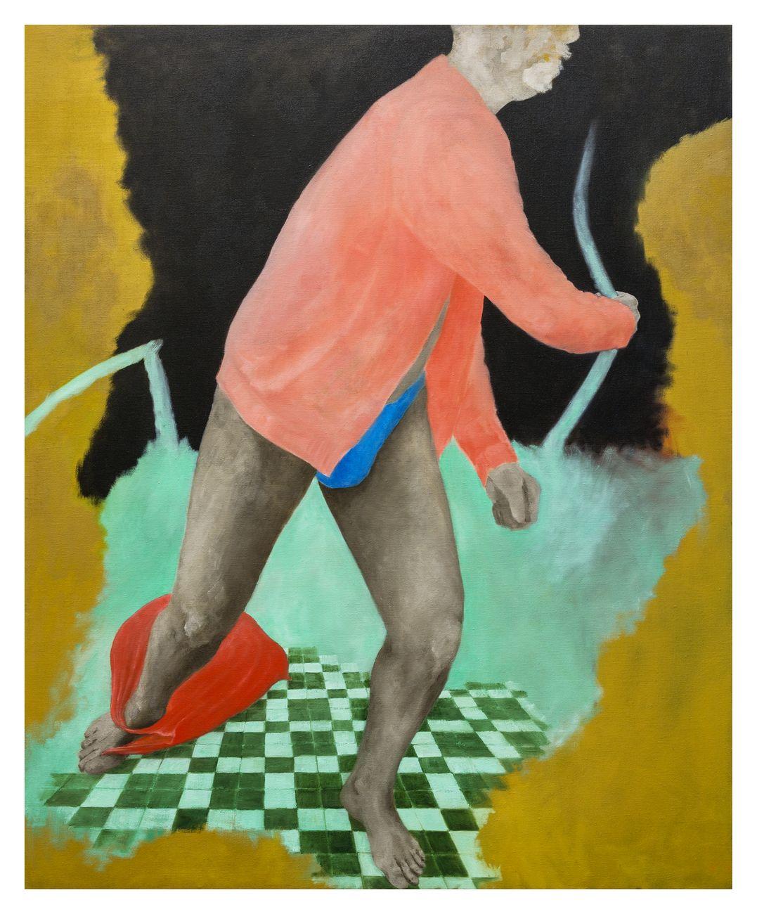 Andrea Respino, Rosa ritorto, 2019, olio su tela, 136 x 110 cm. Photo Beppe Giardino