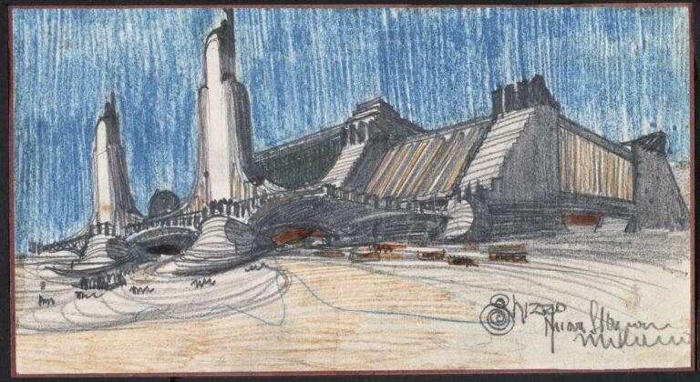 Antonio Sant'Elia, Progetto per la Nuova stazione di Milano, 1914, matita nera e colorata su carta, 15x28 cm. Collezione privata