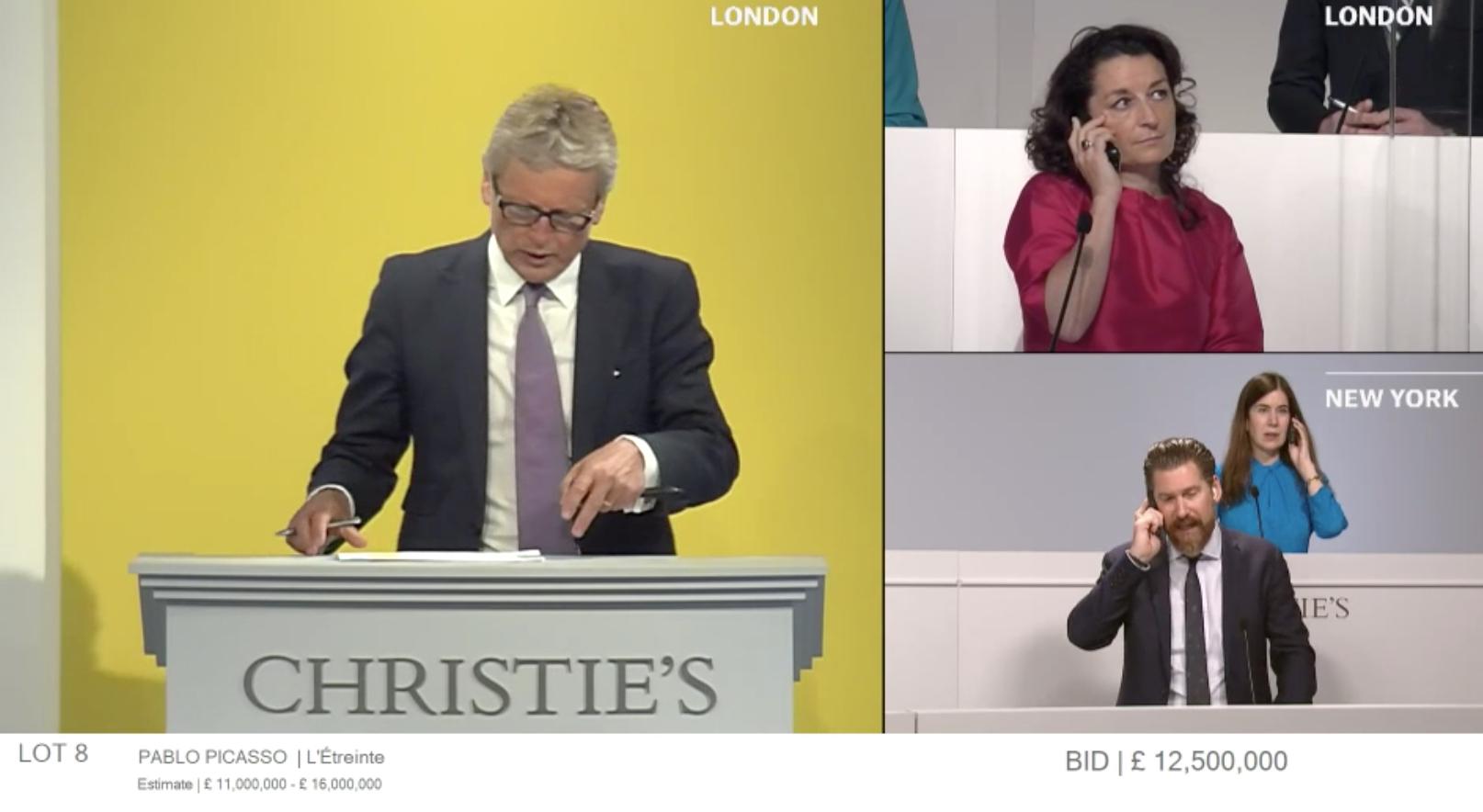Un frame dell'asta online di Christie's