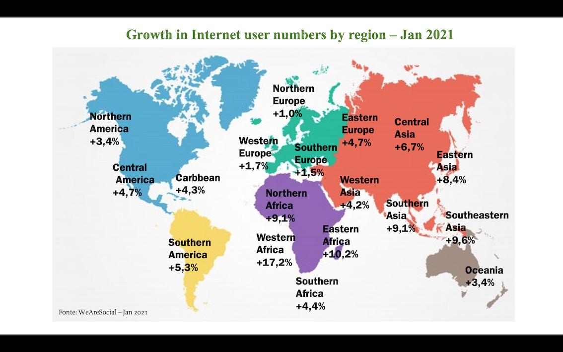 Crescita degli utenti internet per zona