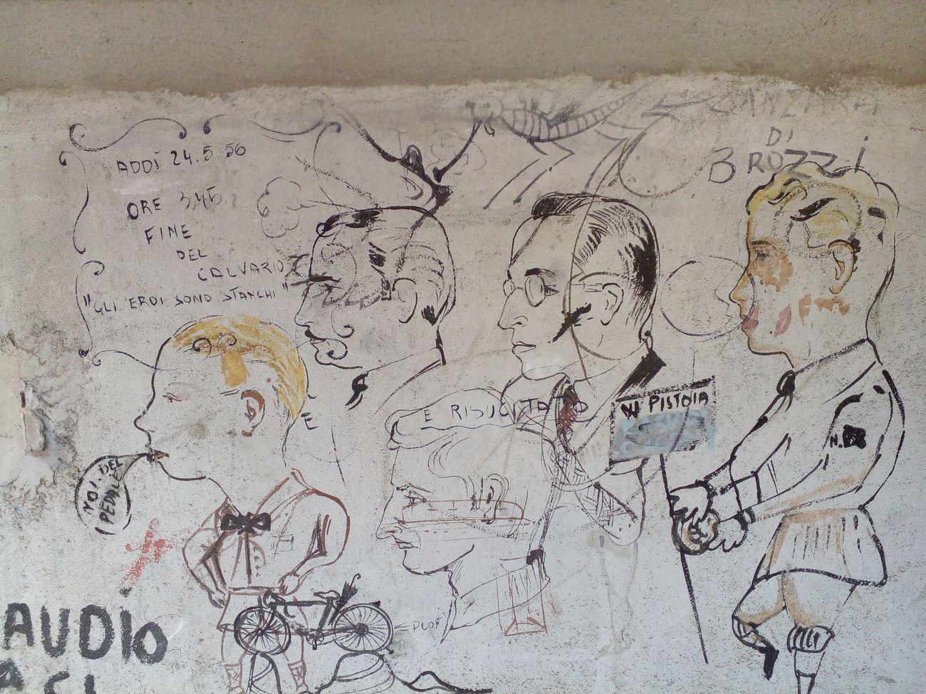 Fornace del Museo, Montelupo Fiorentino, disegni su parete, anni '50