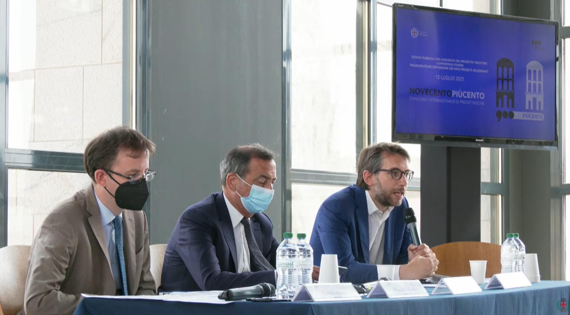 La conferenza stampa di presentazione dei vincitori del Concorso Internazionale di Progettazione Novecentopiùcento