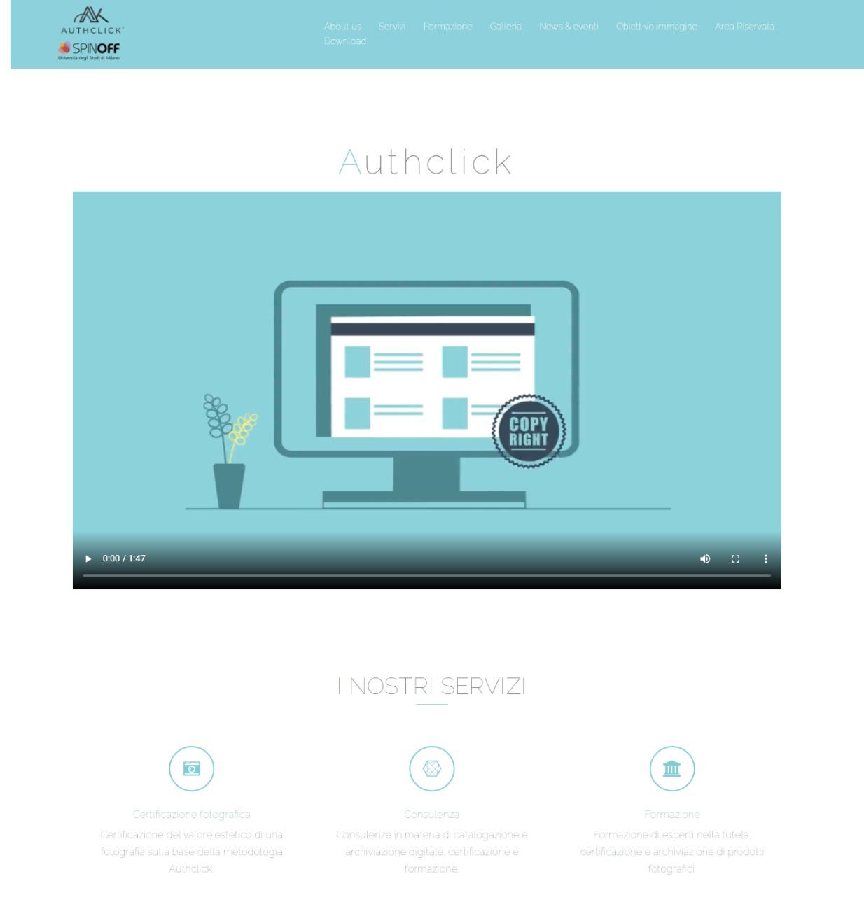La home page di Authclick