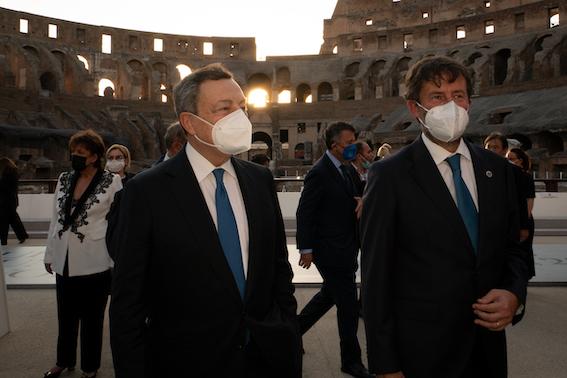 Mario Draghi e Dario Franceschini - Courtesy Ministero della Cultura e G20 Italia