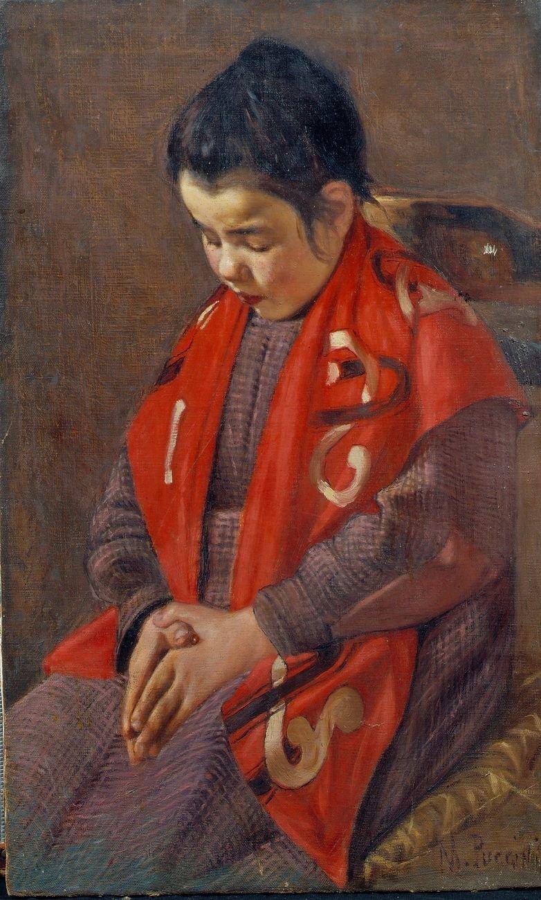 Mario Puccini, Bambina che prega (Ave Maria), 1887 ca., olio su tela, 69x42 cm. Istituto Matteucci, Viareggio
