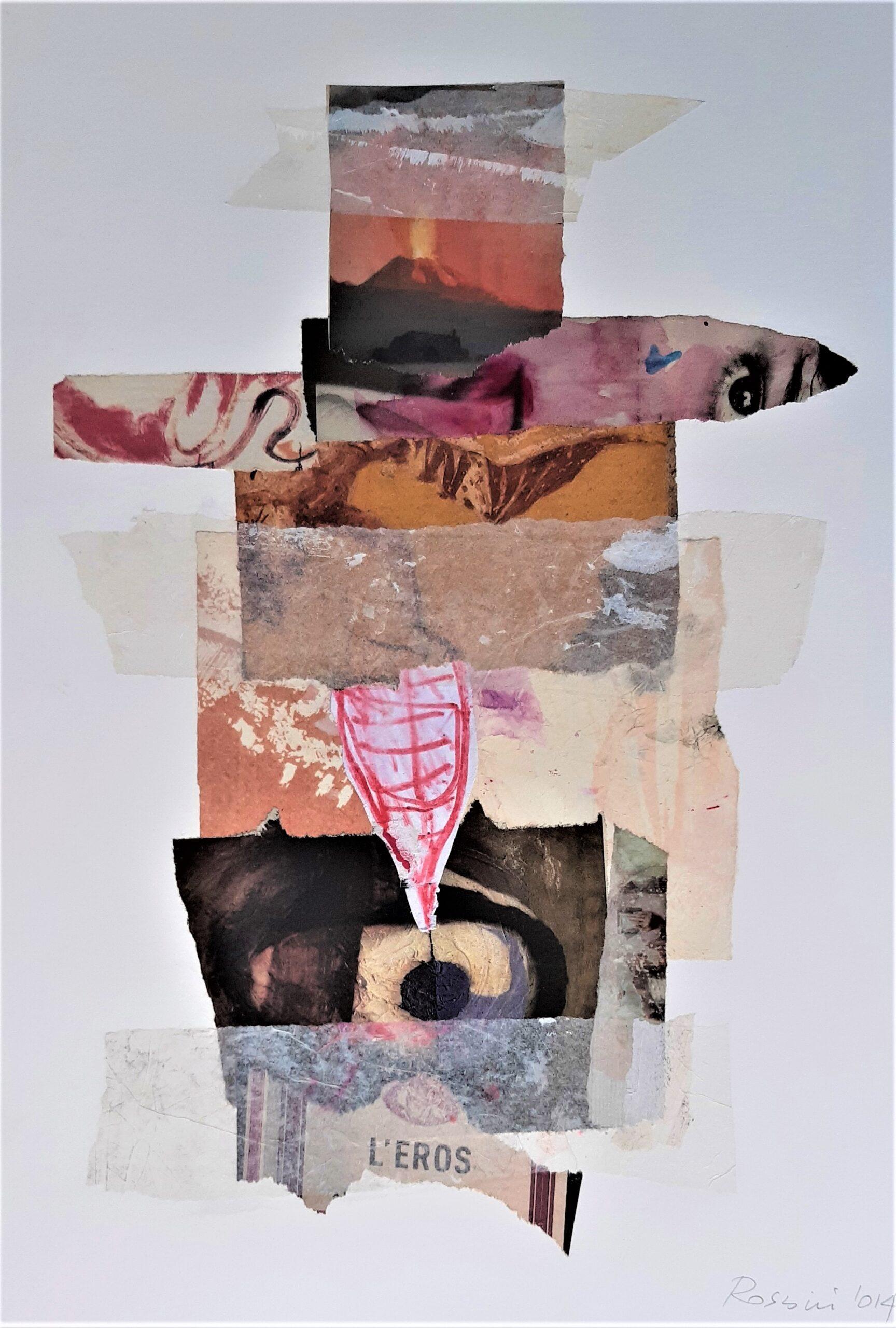 Roberto Rossini, L'Eros, collage di materiali cartacei, 2014