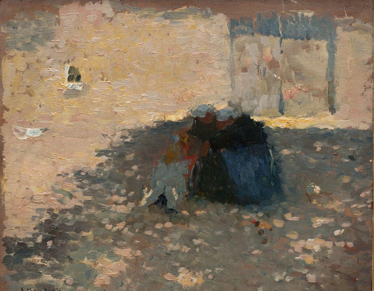 Serafino Macchiati, Contadine bretoni, 1910 1912, olio su cartone, cm 27x31,5. Collezione privata. Photo credit Istituto Matteucci, Viareggio