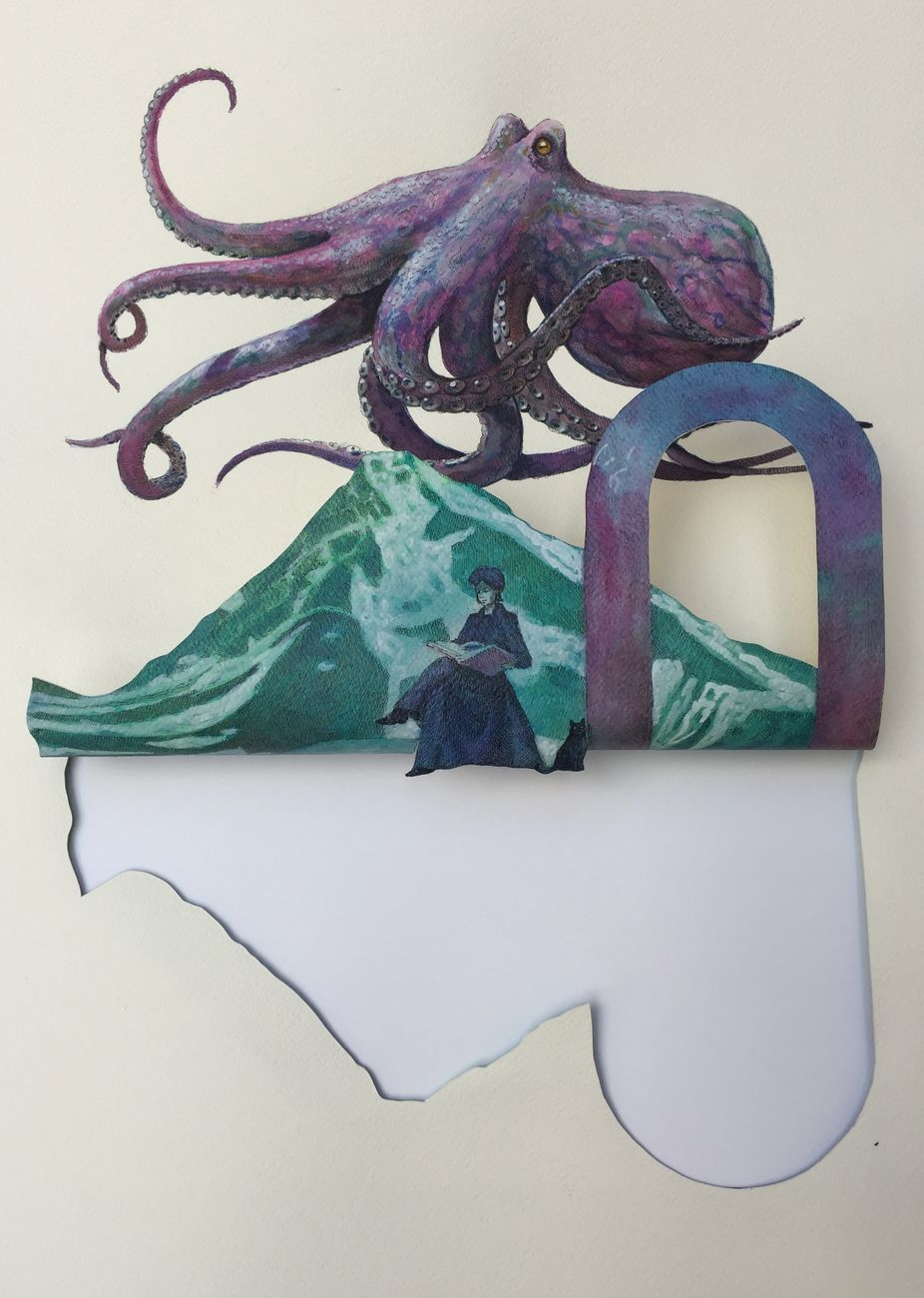 Vanni Cuoghi, Fondali oceanici 5 (Piovra Mont Gelé), 2021, cm 62x46, acrilico e china su carta