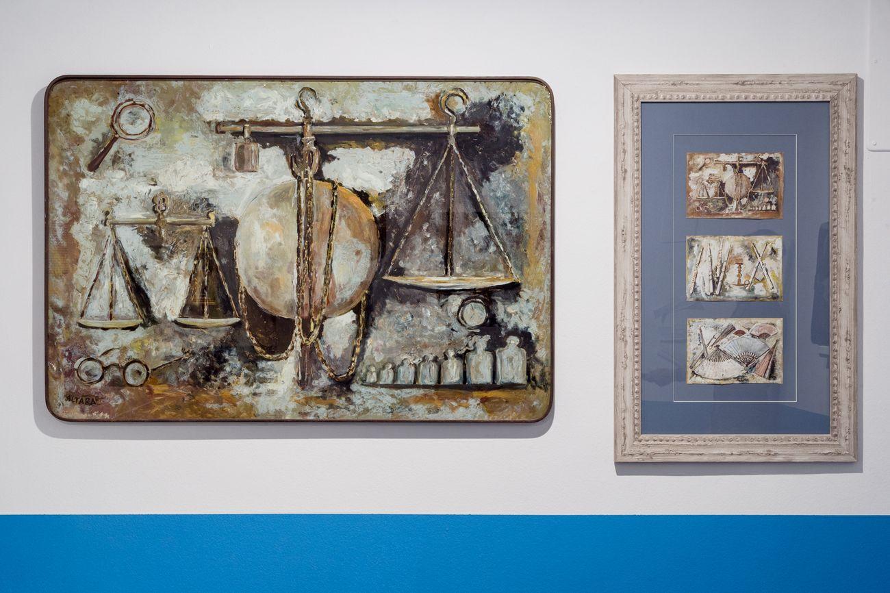 Vittorio Accornero – Edina Altara. Gruppo di famiglia con immagini. Exhibition view at Museo MAN, Nuoro 2021