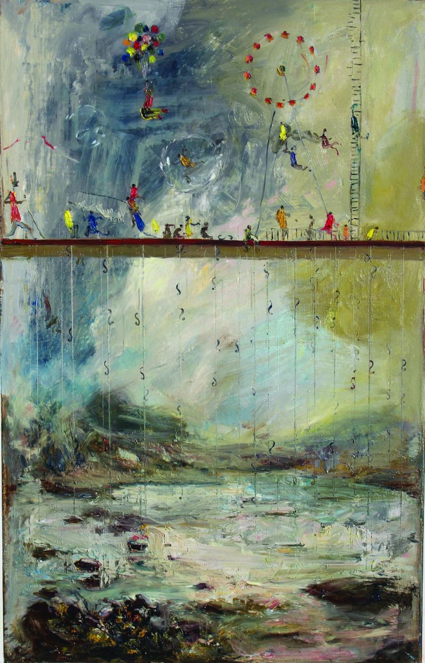 Ignazio Schifano, Palcoscenico e saltimbanchi, 2013, olio su tela, 80x55 cm. Collezione privata