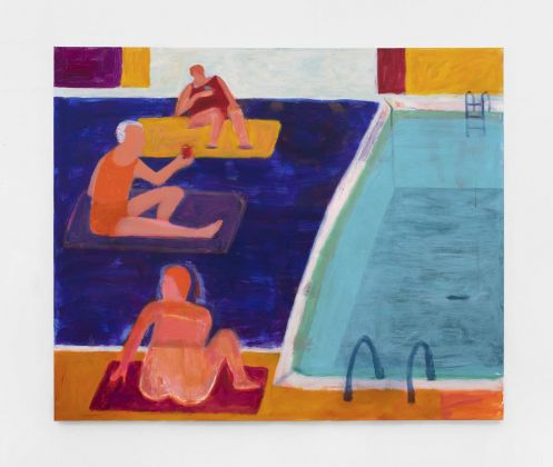 Katherine Bradford, Drinks by the pool, 2021, acrylic on canvas. Courtesy Kaufmann Repetto