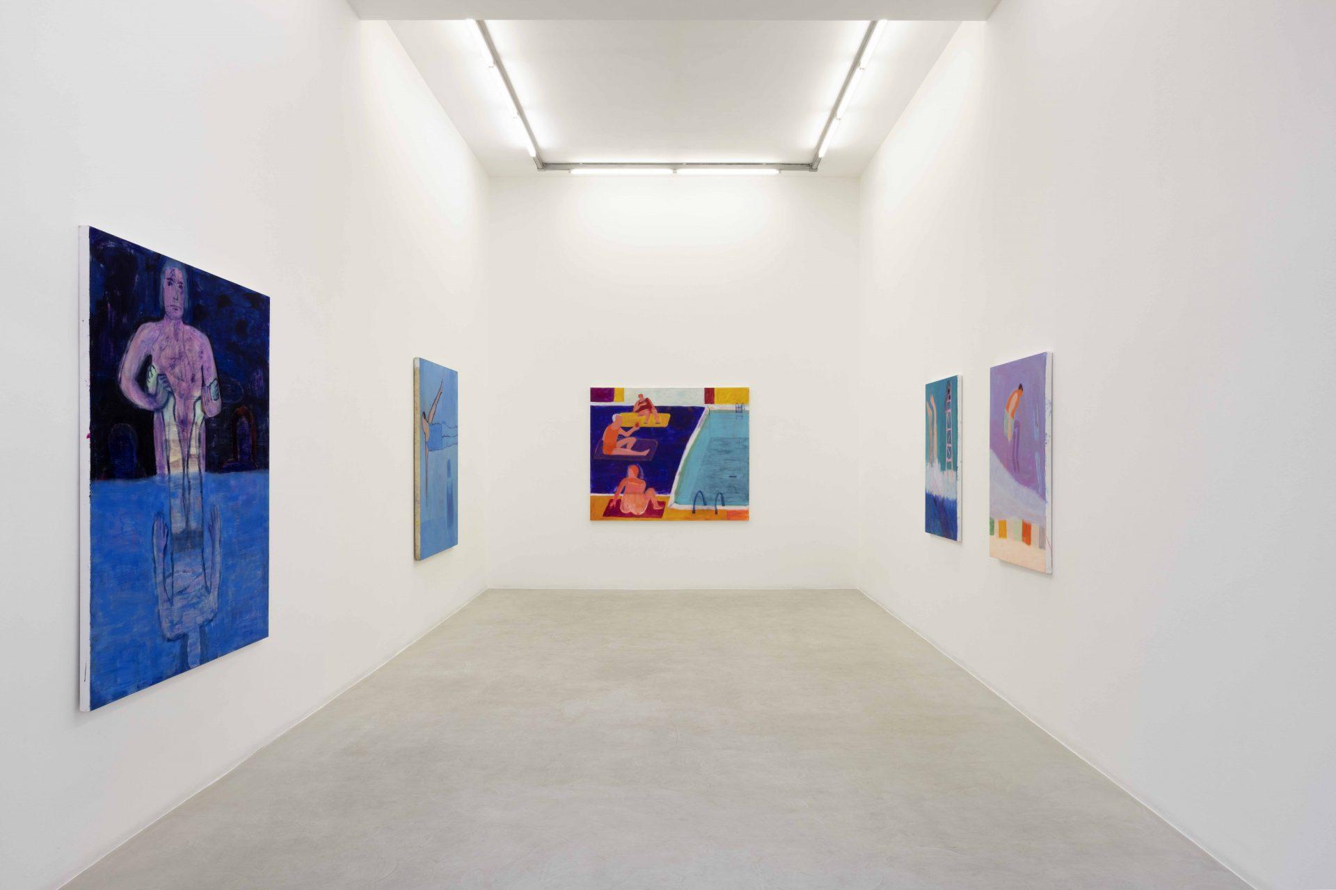 Katherine Bradford, Lifeguards, 2021, Installation view at Kaufmann Repetto, Milano. Courtesy Kaufmann Repetto
