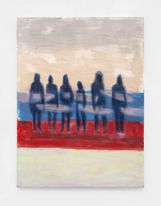Katherine Bradford, Surfers with surfboards, 2021, acrylic on canvas. Courtesy Kaufmann Repetto