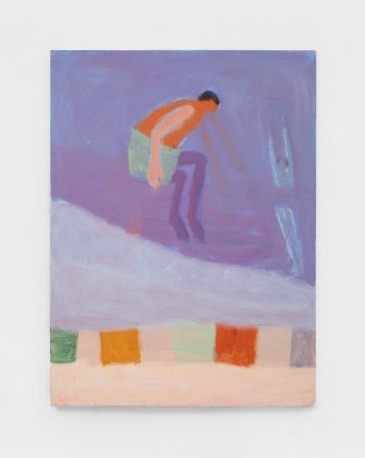 Katherine Bradford, Water jumpers, 2021, acrylic on canvas. Courtesy Kaufmann Repetto