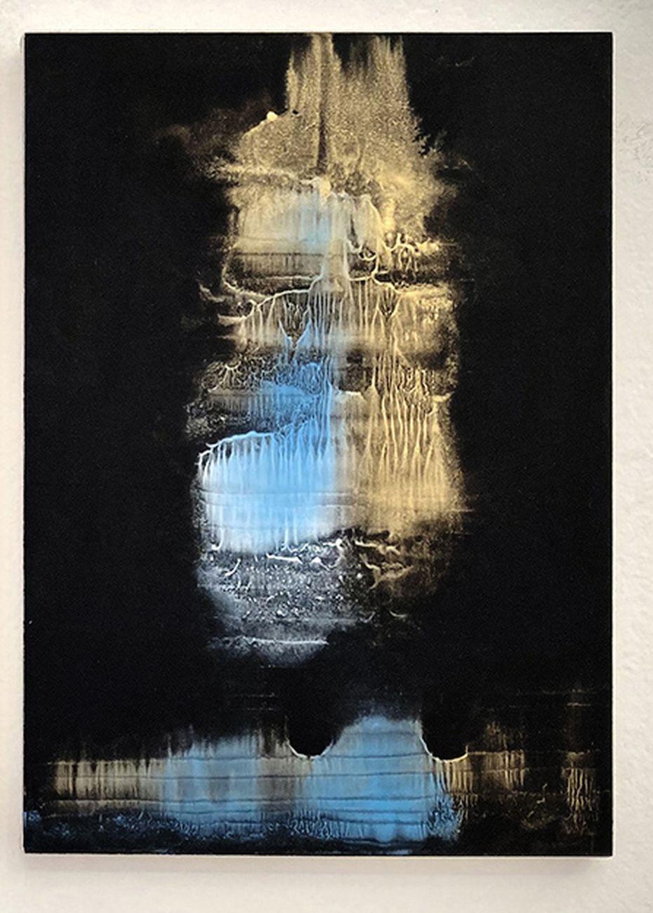 Matteo Montani, Become Again II, 2021, acrilico su carta montata su tela, cm 42x30