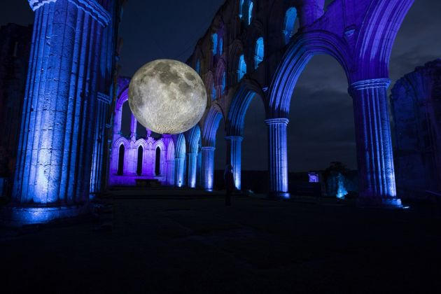 Museum of the Moon by Luke Jerram. Rievaulx Abbey, UK, 2019. Photo by Mark Pickthall