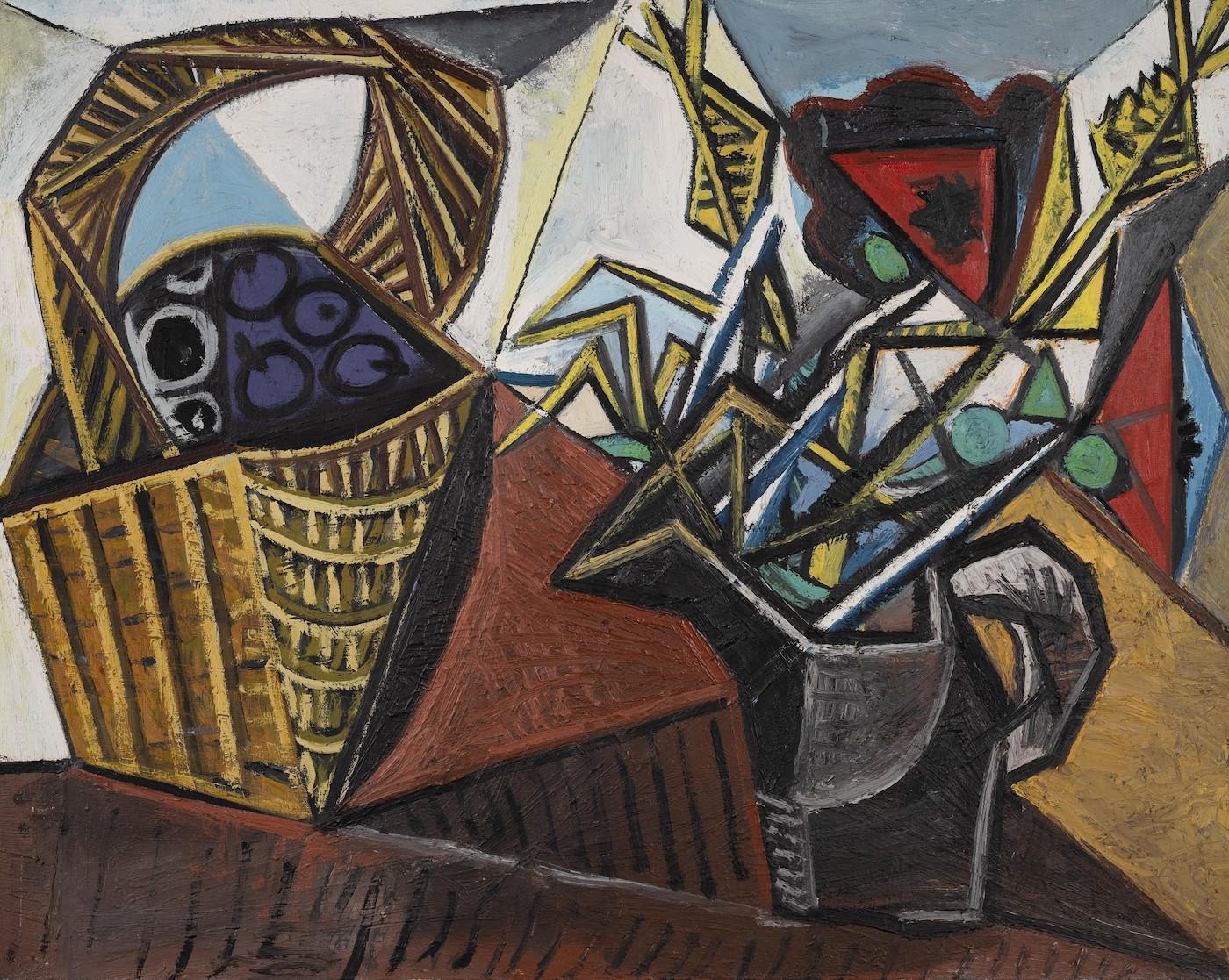 Pablo Picasso, Nature morte au panier de fruits et aux fleurs