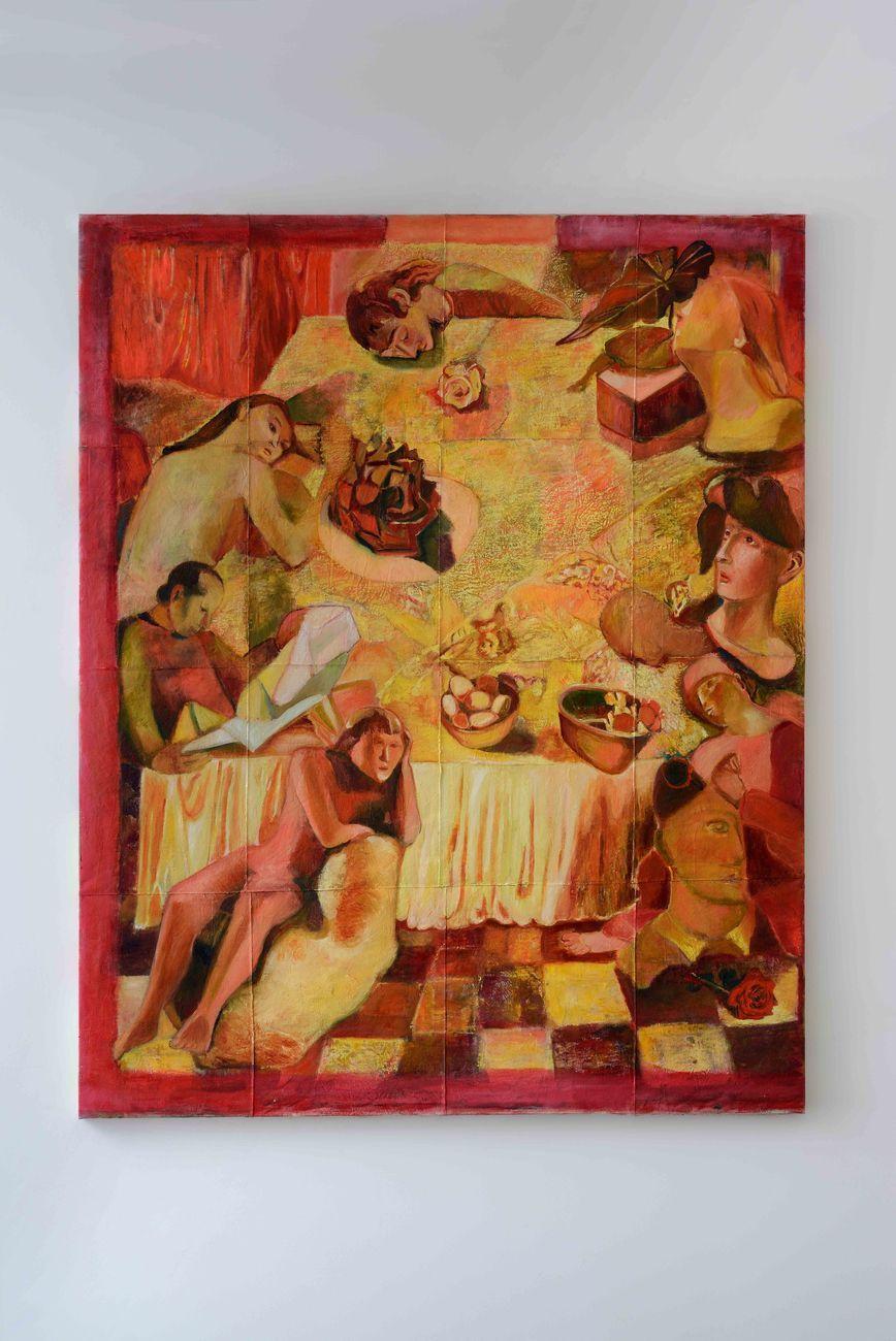 Paola Angelini, Biography of a painting table #2, 2021, tecnica mista su tela, 195 x 155 cm. Photo credits Michele Alberto Sereni