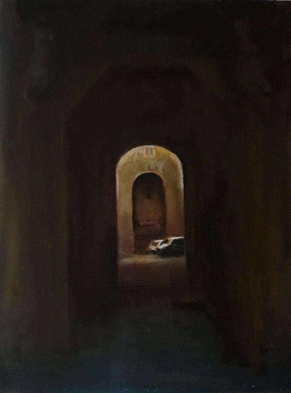 Paolo La Motta, Sanfelice e l'impluvium, 2019, olio su tavola, cm 80x60
