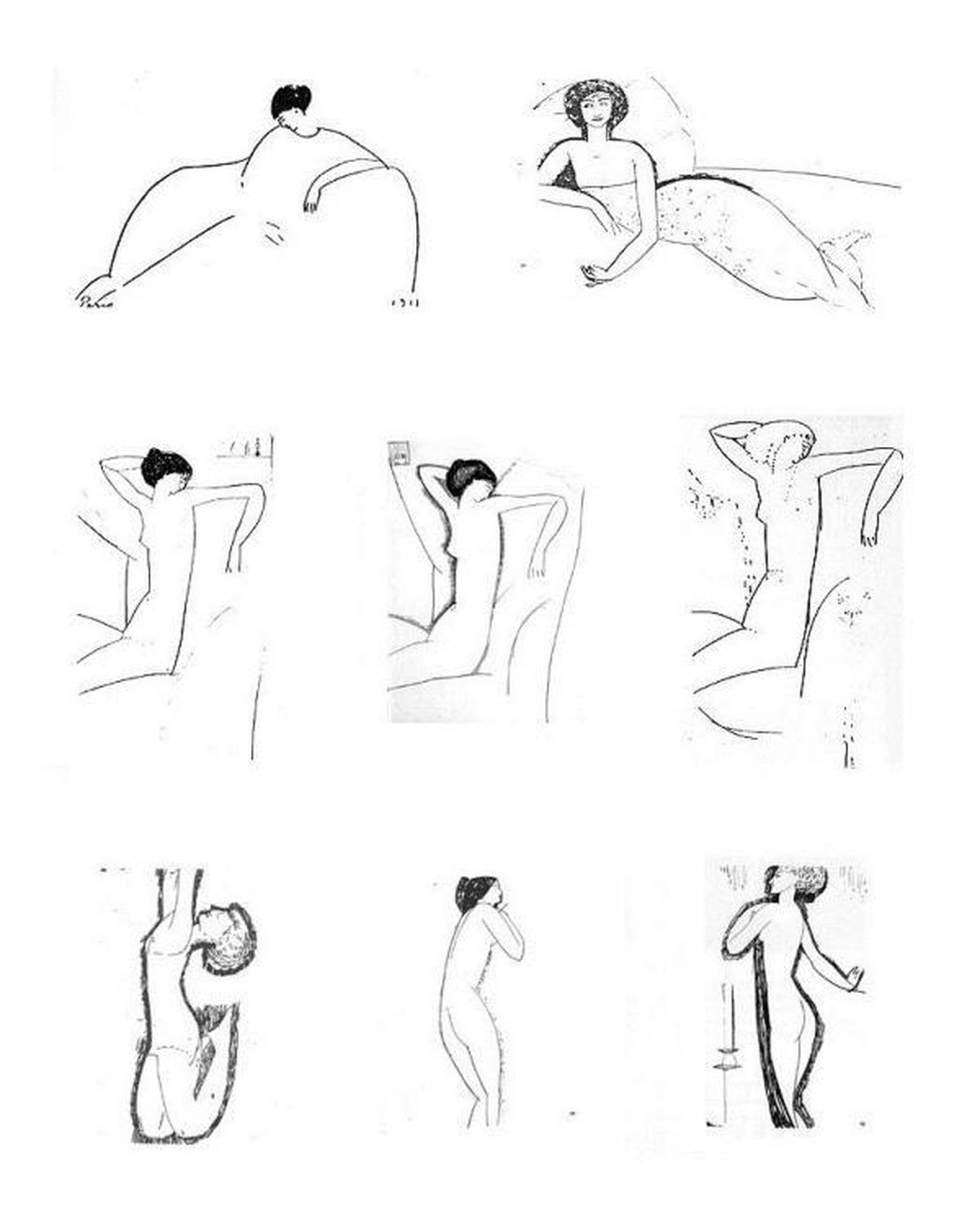 Schizzi di Amedeo Modigliani che ritraggono Anna Achmatova
