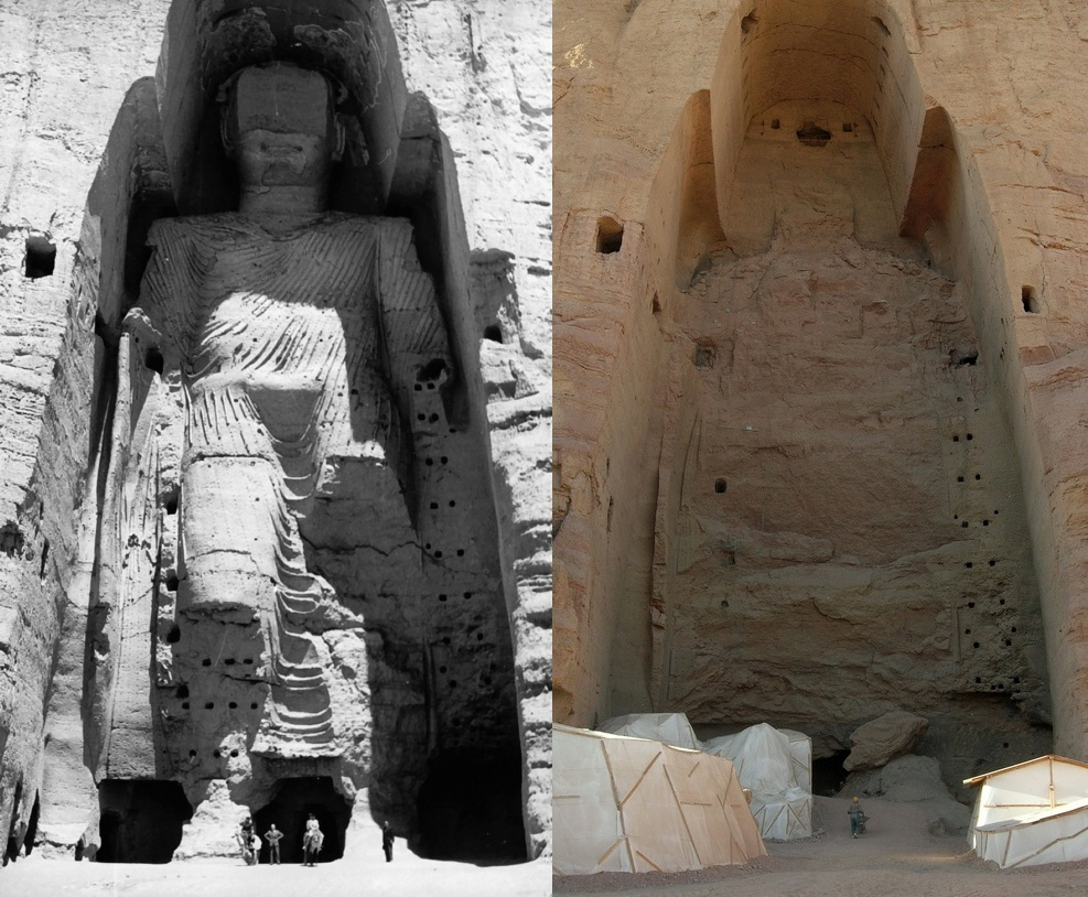 Buddha_Bamiyan_1963.jpg: UNESCO/A Lezine;Tsui at de.wikipedia.Later version(s) were uploaded by Liberal Freemason at de.wikipedia.Buddhas_of_Bamiyan4.jpg: Carl Montgomeryderivative work: Zaccarias, CC BY-SA 3.0 <https://creativecommons.org/licenses/by-sa/3.0>, via Wikimedia Commons