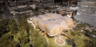 Aerial view of the Adelaide Aboriginal Art and Cultures Centre's open air amphitheatre (Courtesy Diller Scofidio + Renfro and Woods Bagot)