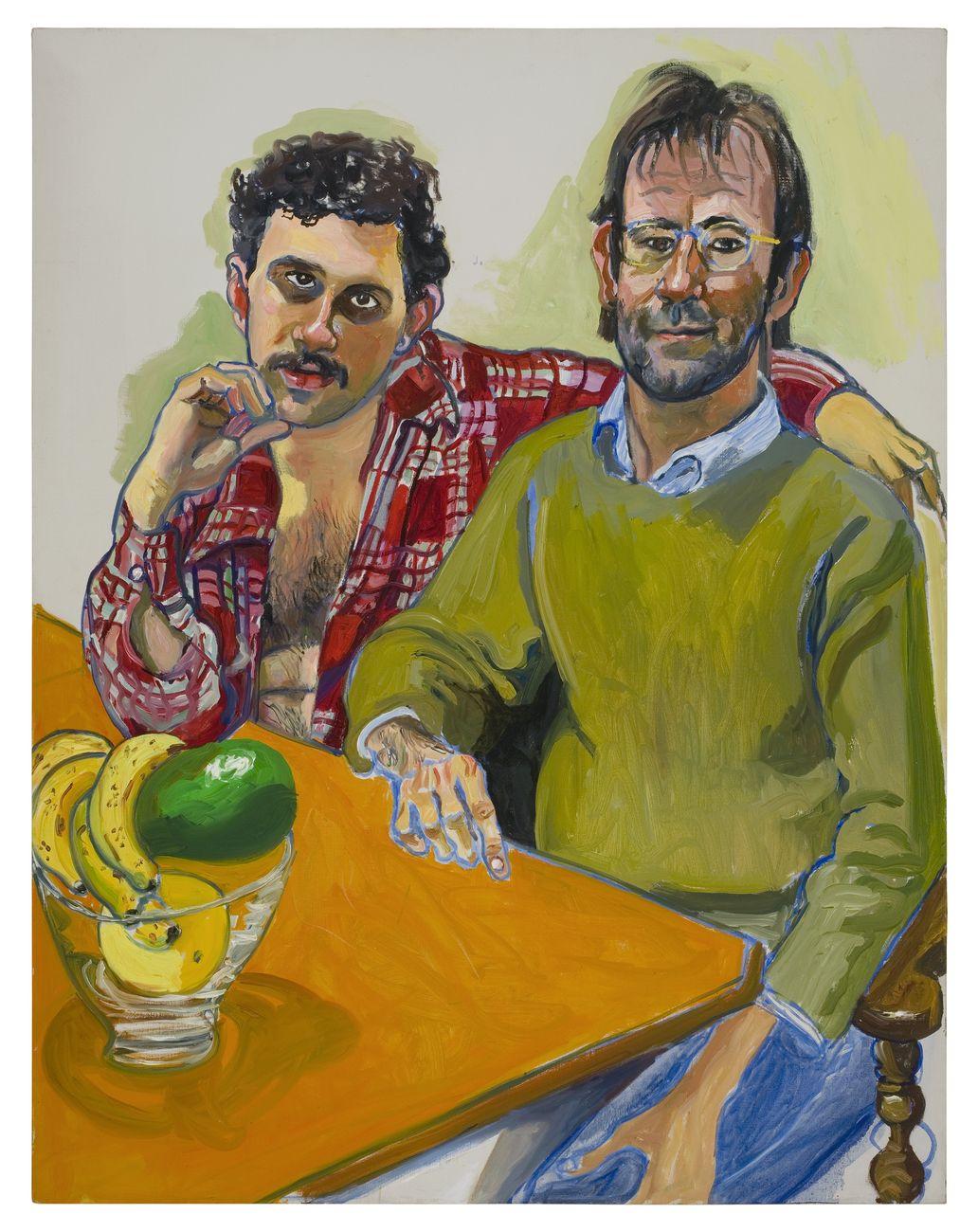 Alice Neel, Geoffrey Hendricks and Brian, 1978, olio su tela, 118,7 × 93,3 cm. San Francisco Museum of Modern Art © The Estate of Alice Neel, Bilbao, 2021