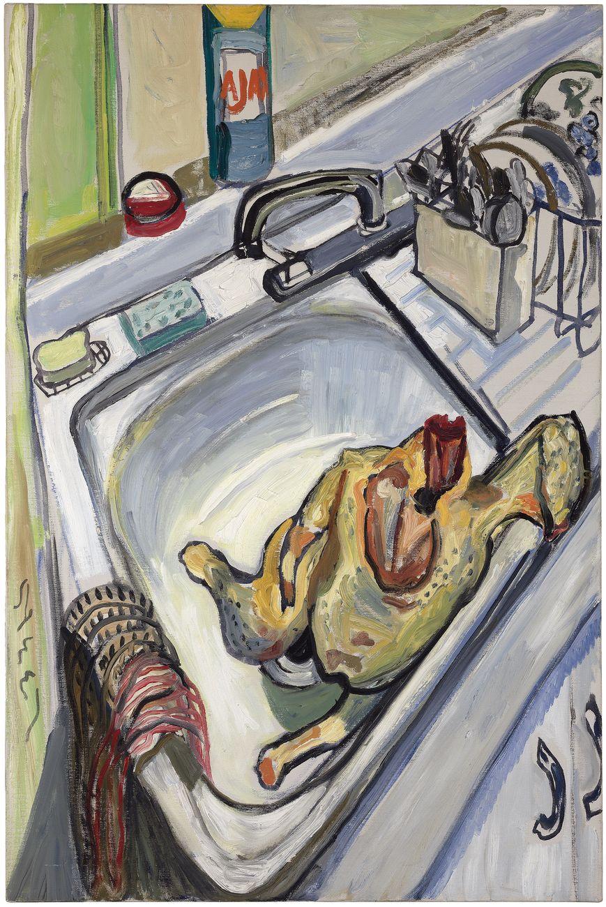 Alice Neel, Thanksgiving, 1965, olio su tela, 76.2 × 86,4 cm. The Brand Family Collection © The Estate of Alice Neel, Bilbao, 2021