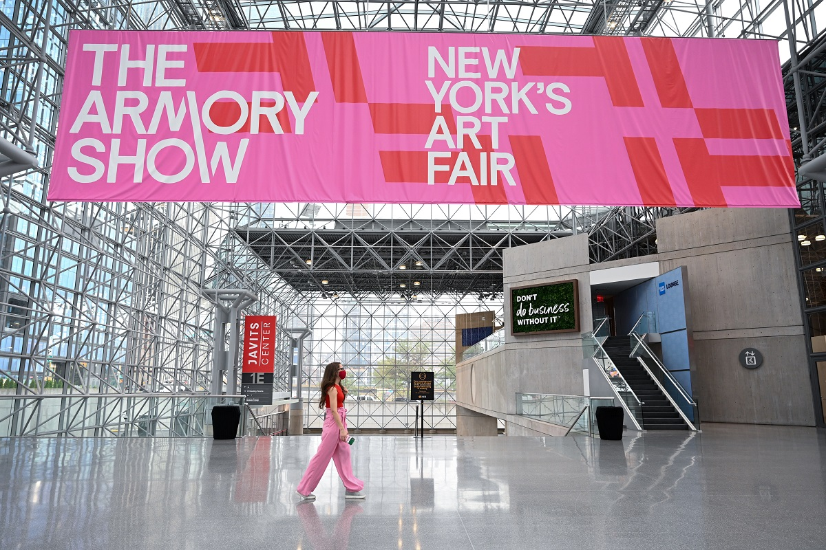 The Armory Show opened on Thursday, September 9, 2021 at the Javits Center in midtown Manhattan for the first time in a new location during a different time of year. Photograph by Casey Kelbaugh