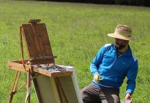 Ben Quilty paints a landscape at Sutton Forest which would be impacted if Hume Coal's project goes ahead.