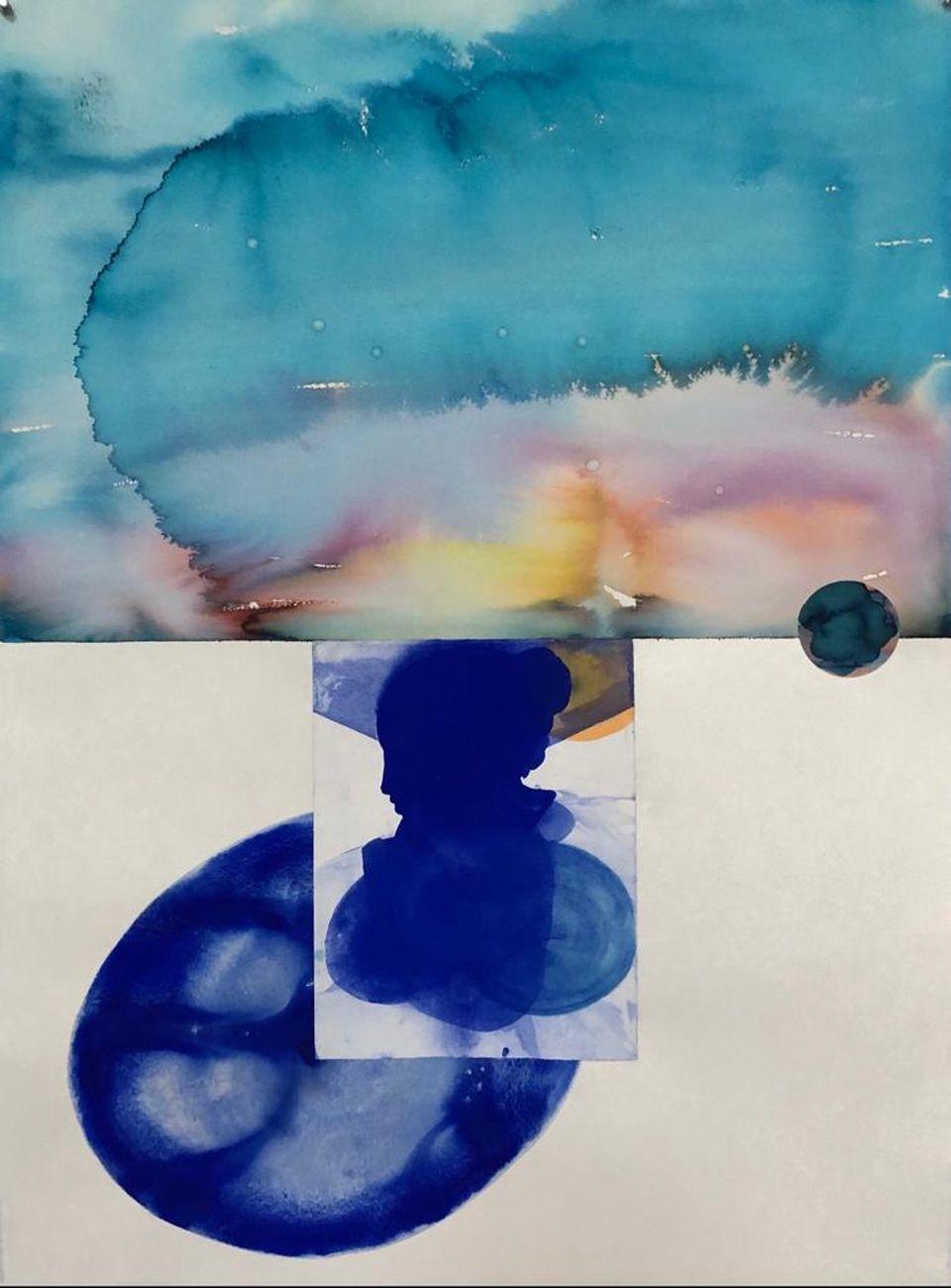 Emilio D'Elia, Nostra Signora della luce, 2020, tecnica mista pigmenti naturali su carta giapponese, cm 107x78