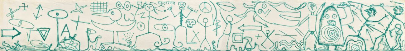 Enrico Baj, Il mondo delle idee, 1983, vernice spray su tela, 240 x 1.900 cm. Archivio Baj, Vergiate. Courtesy Archivio Enrico Baj, Vergiate