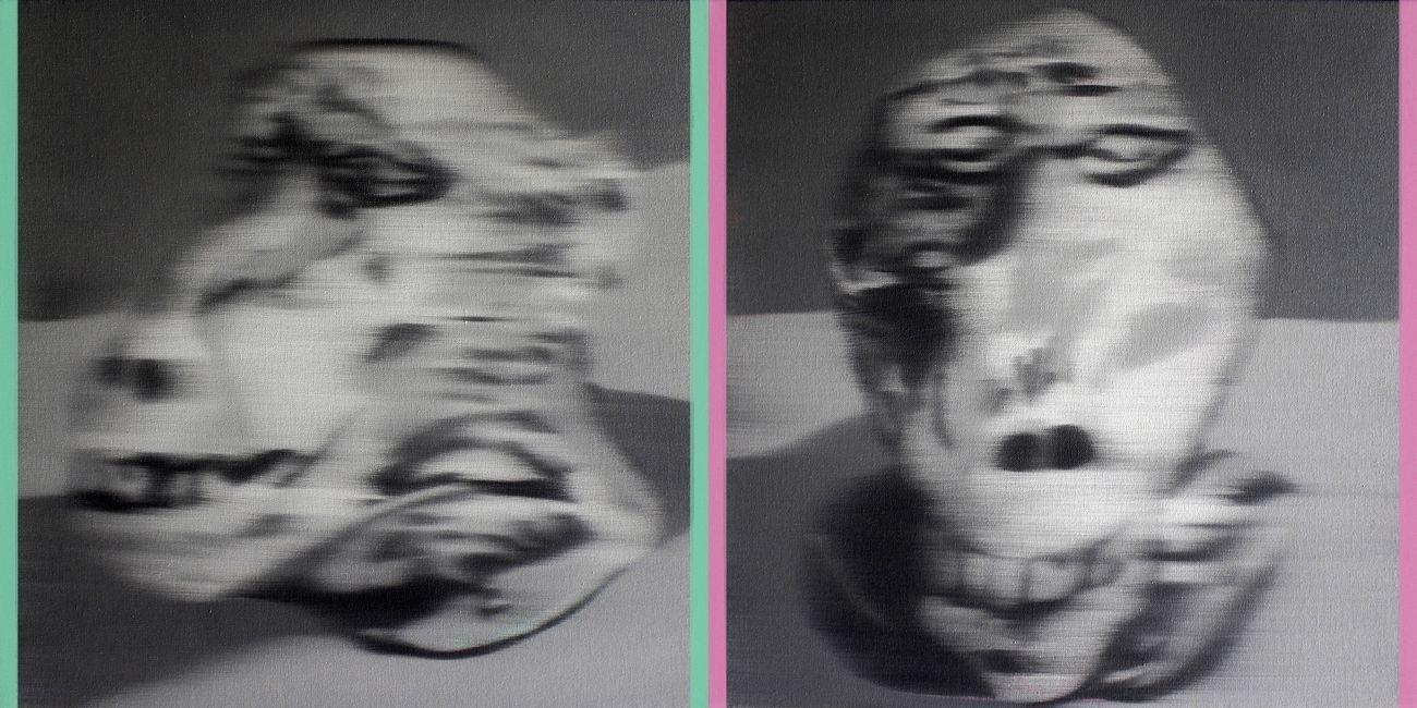 Ettore Pinelli, Senza titolo dittico (da Archivio Varoli), 2021, olio su tela, 30x30 cm ciascuna