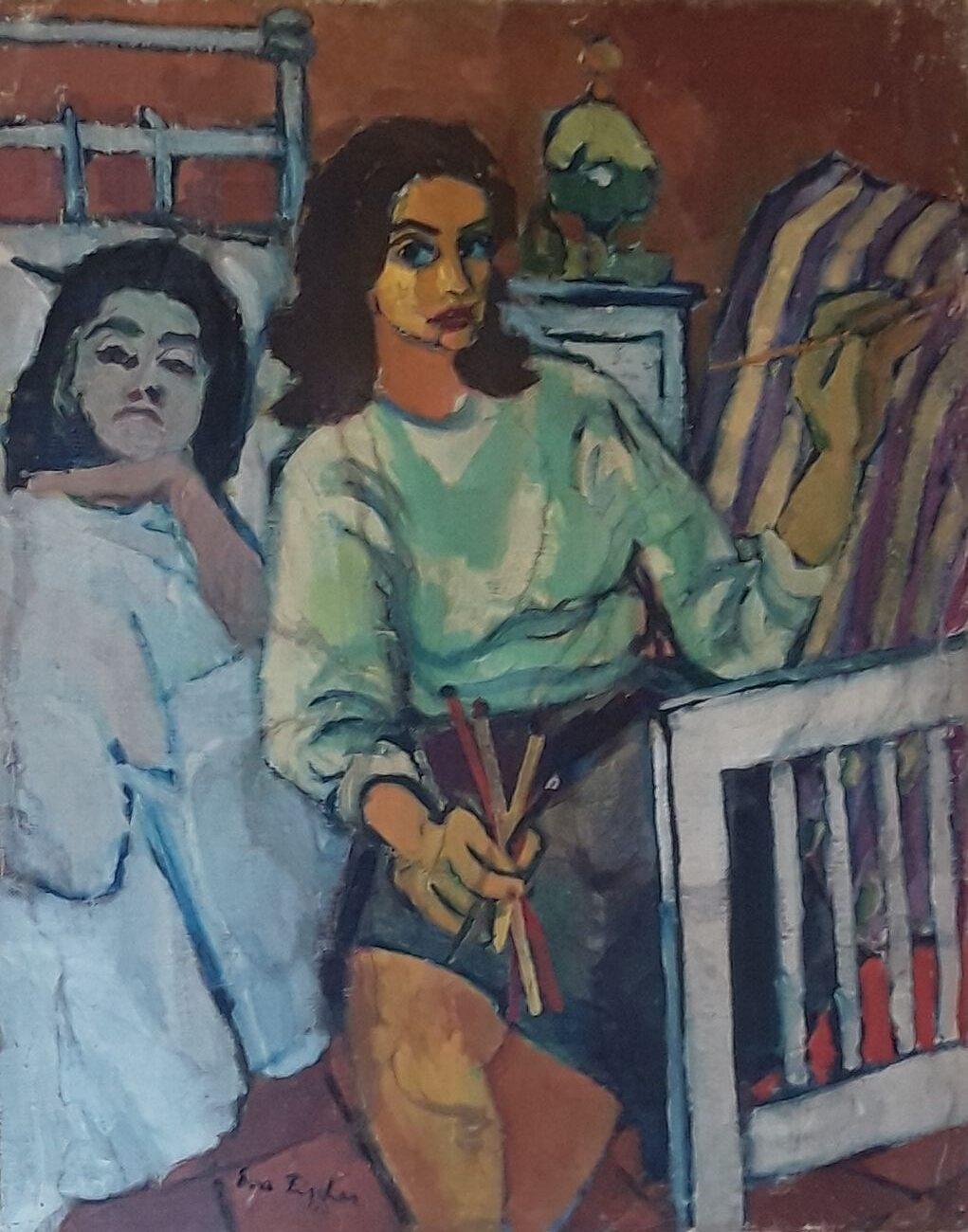 Eva Fischer, Autoritratto con la madre Cornelia, 1947, olio su tela