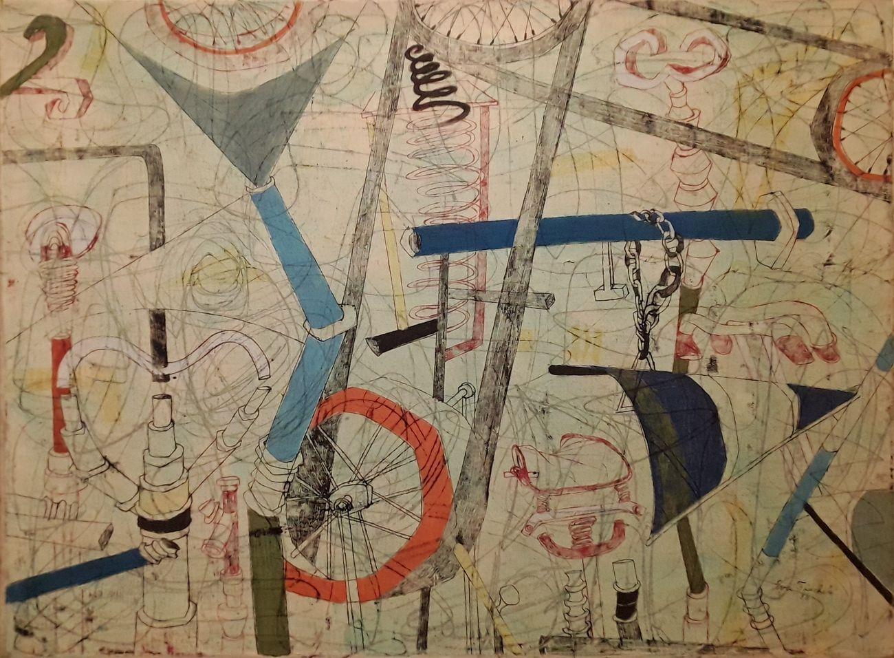 Eva Fischer, Biciclette, olio su tela