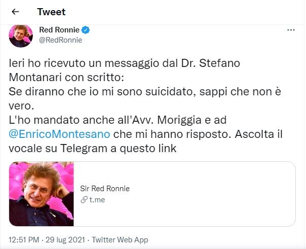 Il tweet di Red Ronnie a proposito della morte di De Donno
