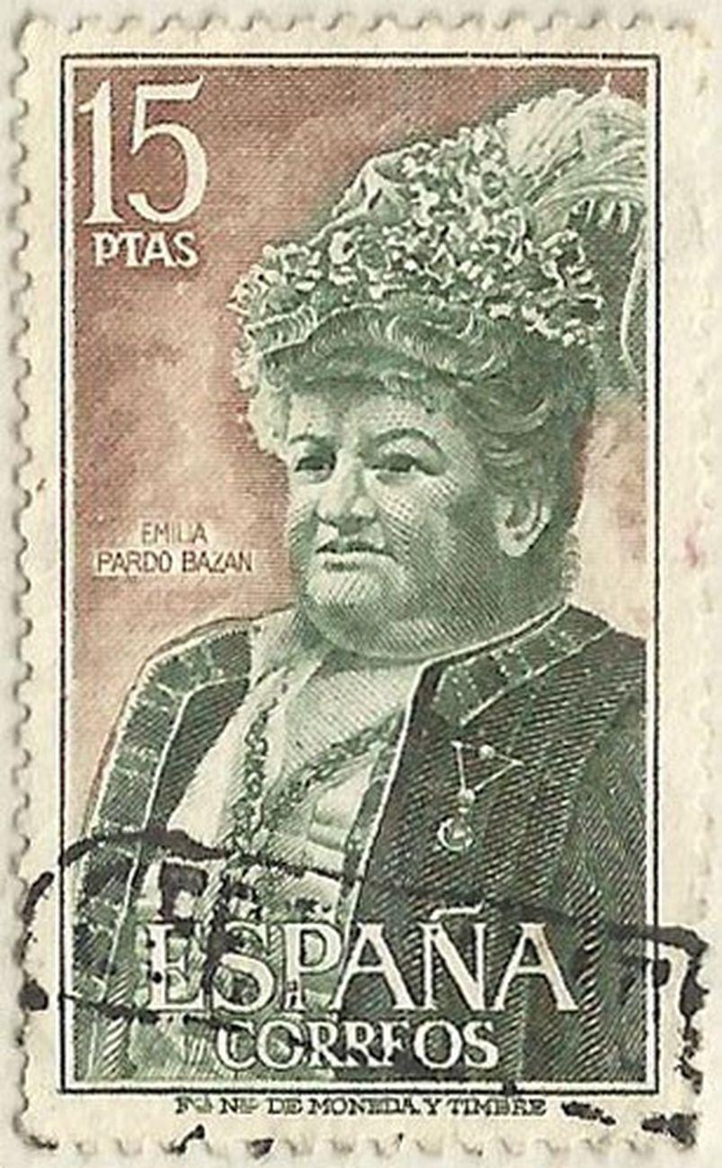 Il francobollo celebrativo di Emilia Pardo Bazán emesso nel 1972 dalle Poste Spagnole