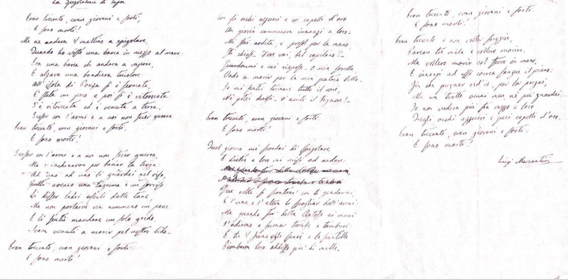 Manoscritto originale della poesia di Luigi Mercantini