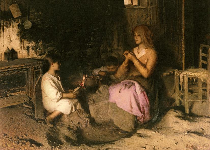 Noè Bordignon, La pappa al fogo, 1895, olio su tela. Vicenza, Banco popolare di Vicenza