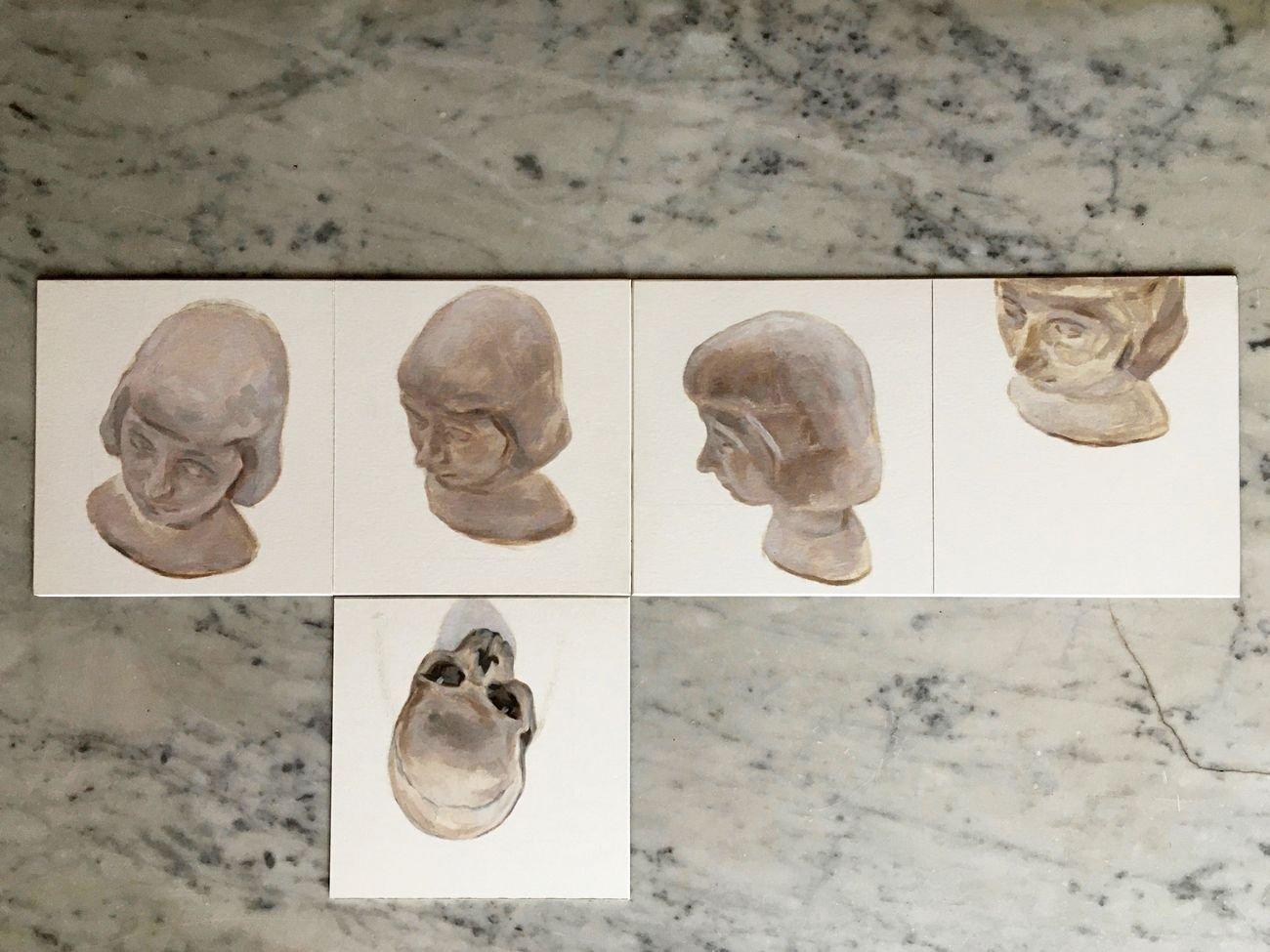 Sarah Ledda, Scatolaperta, 2021, 5 dipinti, olio su cartoncino, cm 21x21x22,5