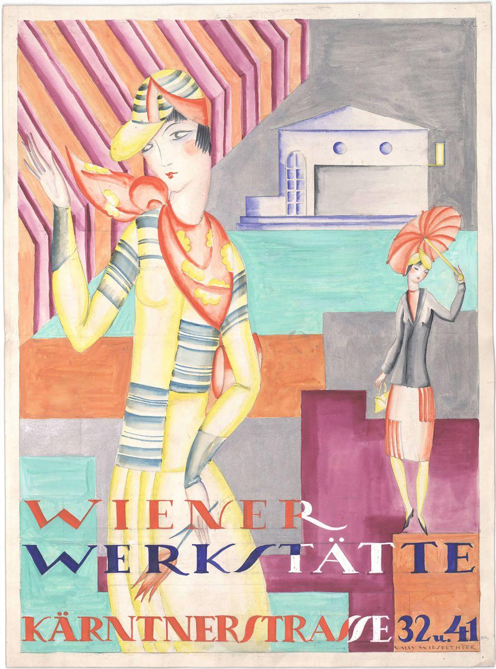 """Vally Wieselthier, Advertisement for the fashion of the """"Wiener Werkstätte Kärntnerstrasse 32 u. 41,"""" Vienna, before 1928 © MAK"""